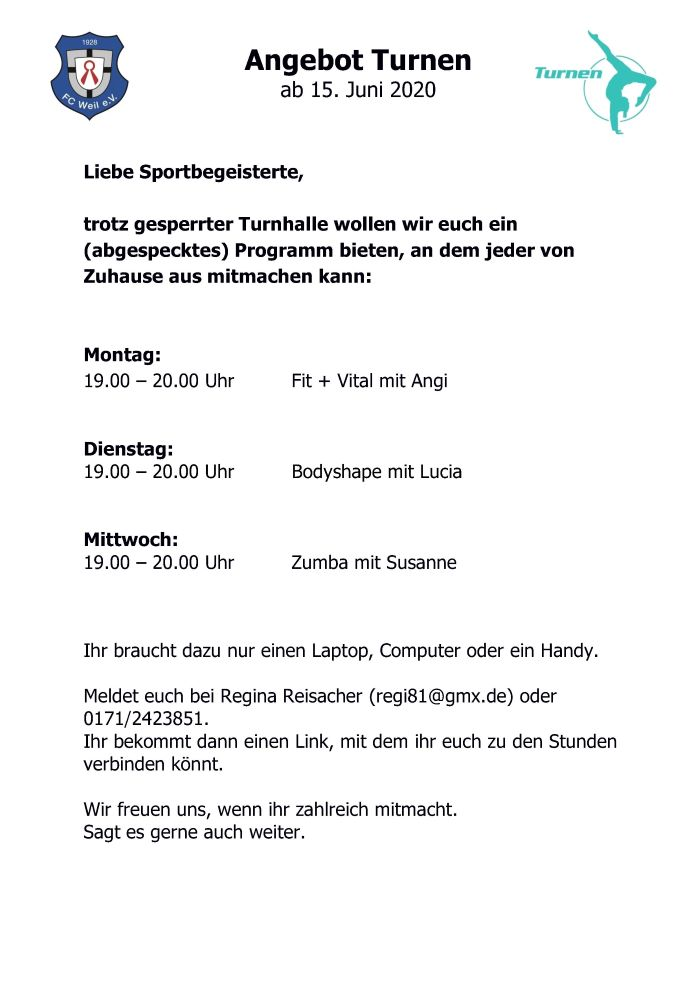 Flyer Training daheim neu